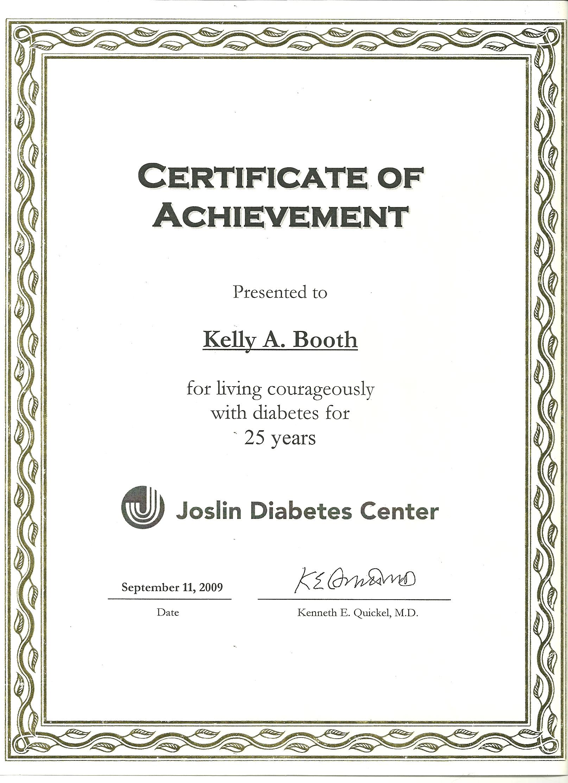 Joslin Medalist 25 year certificate