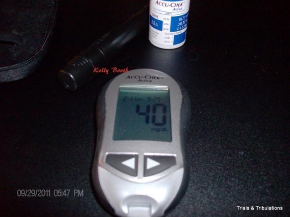 AccuChek Aviva blood sugar of 40