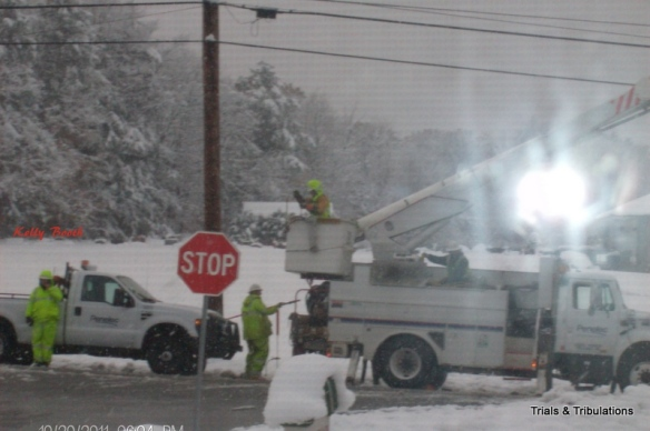 Penelec trucks in Nor'Easter