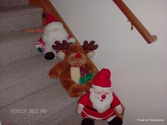 Santas on Stairs
