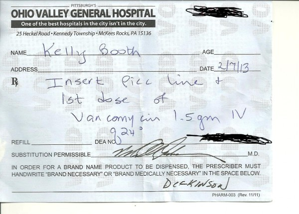 Ohio Valley General Hospital prescription written by Dr. Peter Dickinson for Kelly Booth